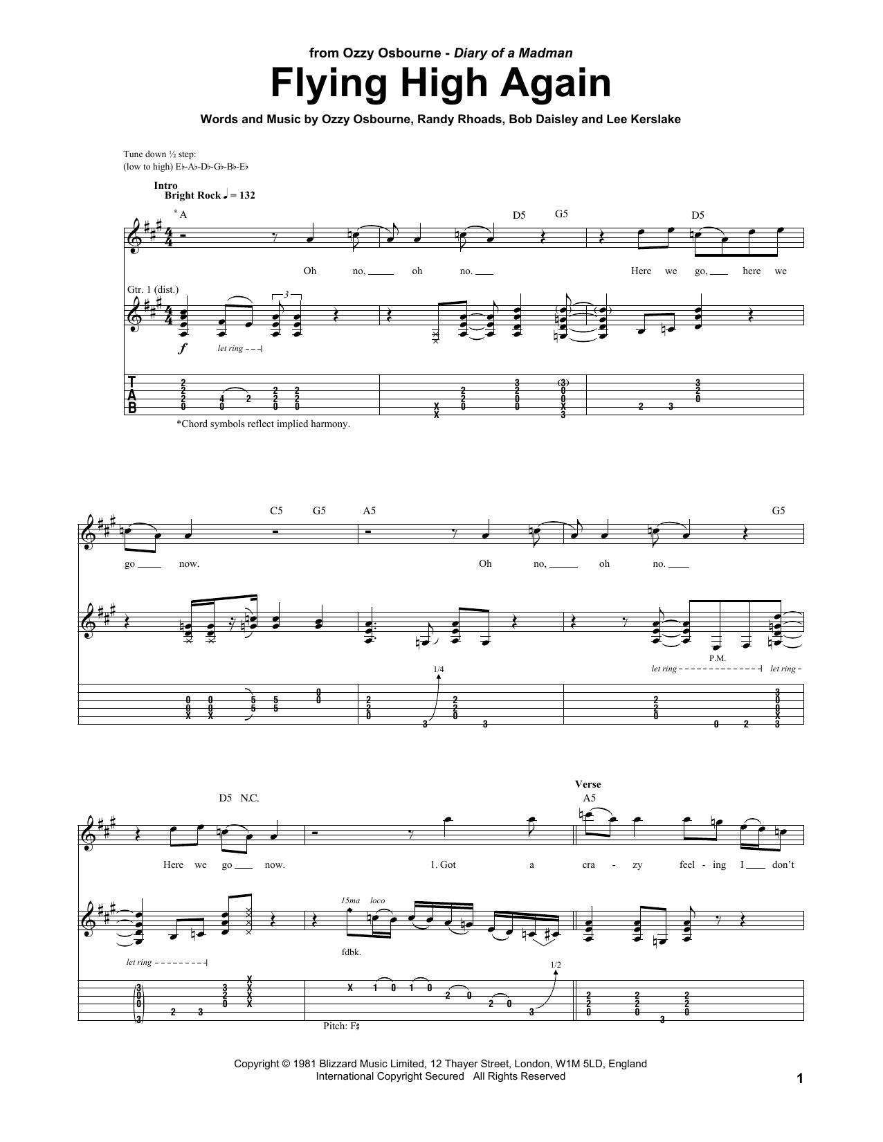 Flying High Again (Guitar Tab)