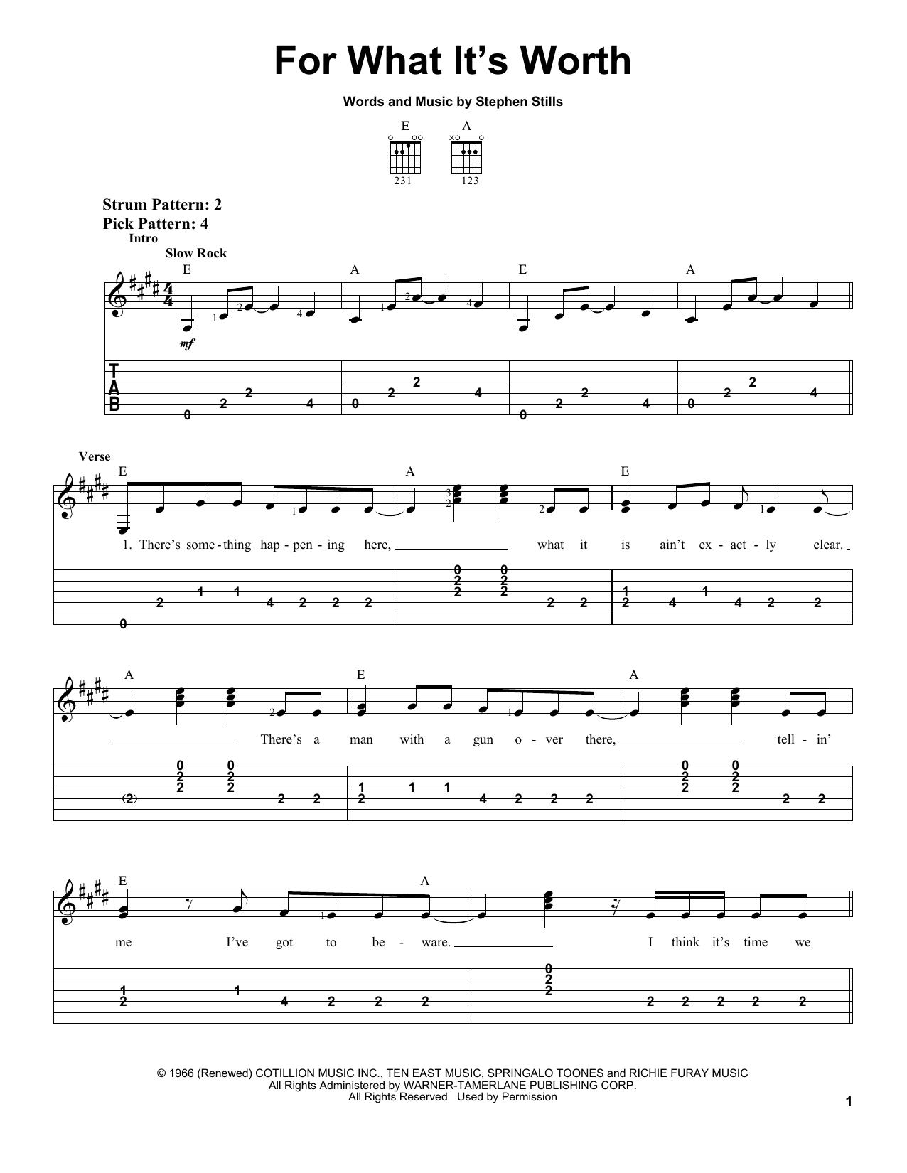 Tablature guitare For What It's Worth de Buffalo Springfield - Tablature guitare facile