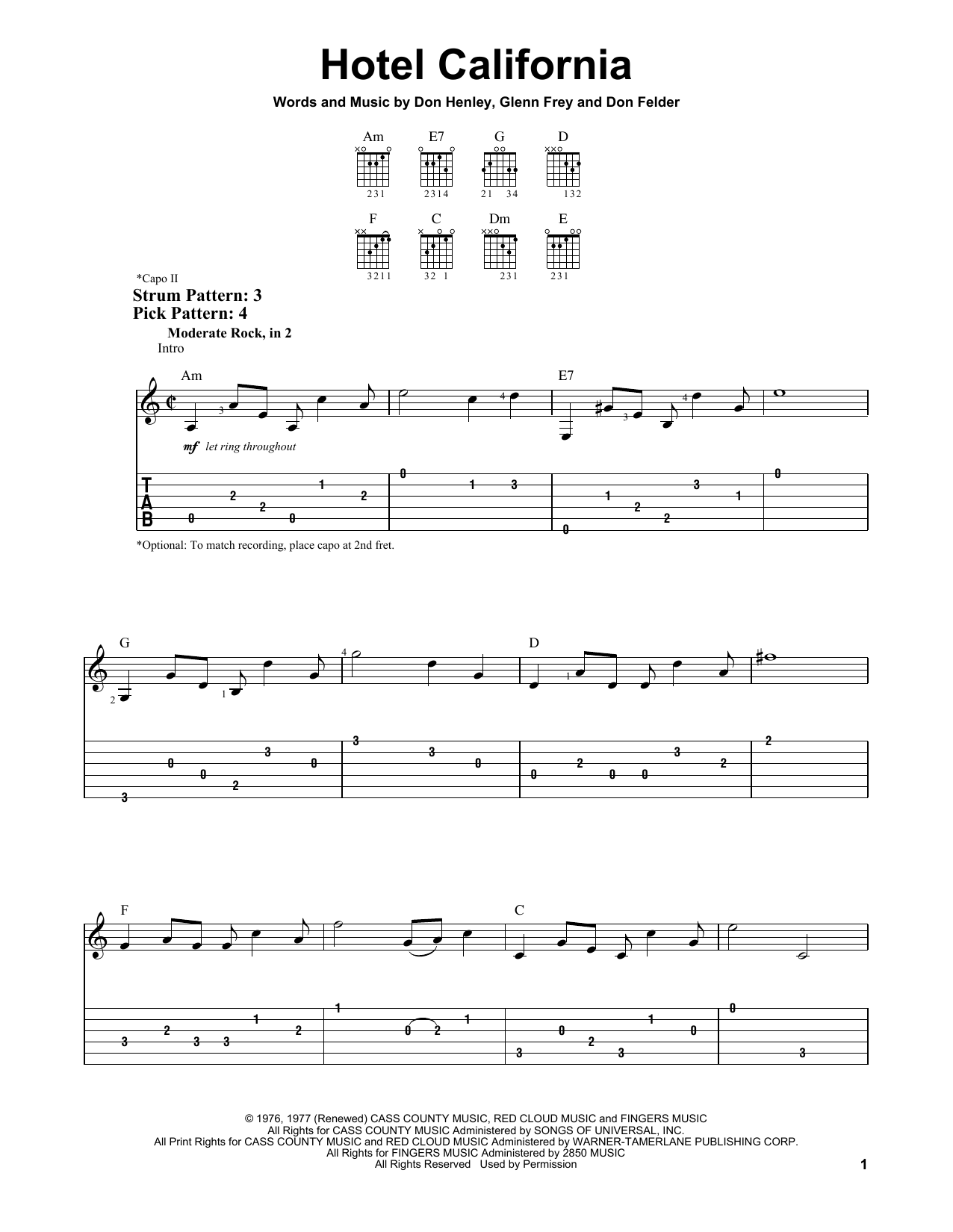 Hotel California By Eagles Easy Guitar Tab Guitar Instructor