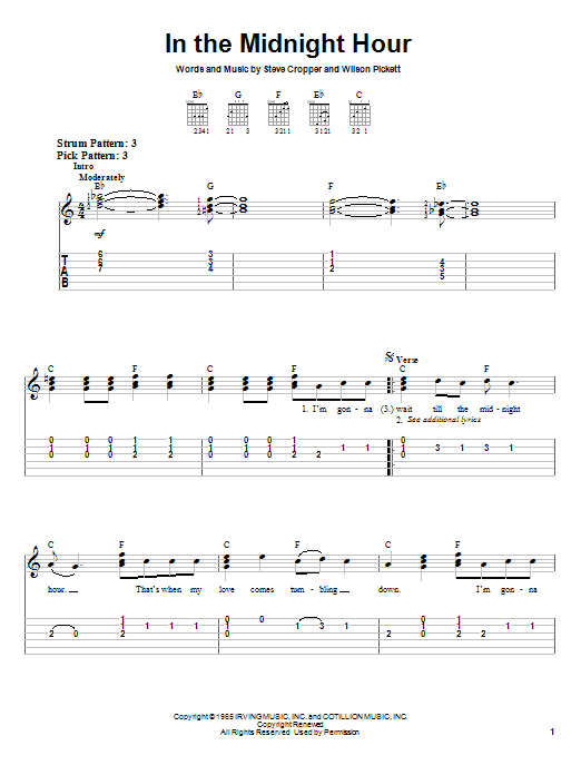Tablature guitare In The Midnight Hour de Wilson Pickett - Tablature guitare facile