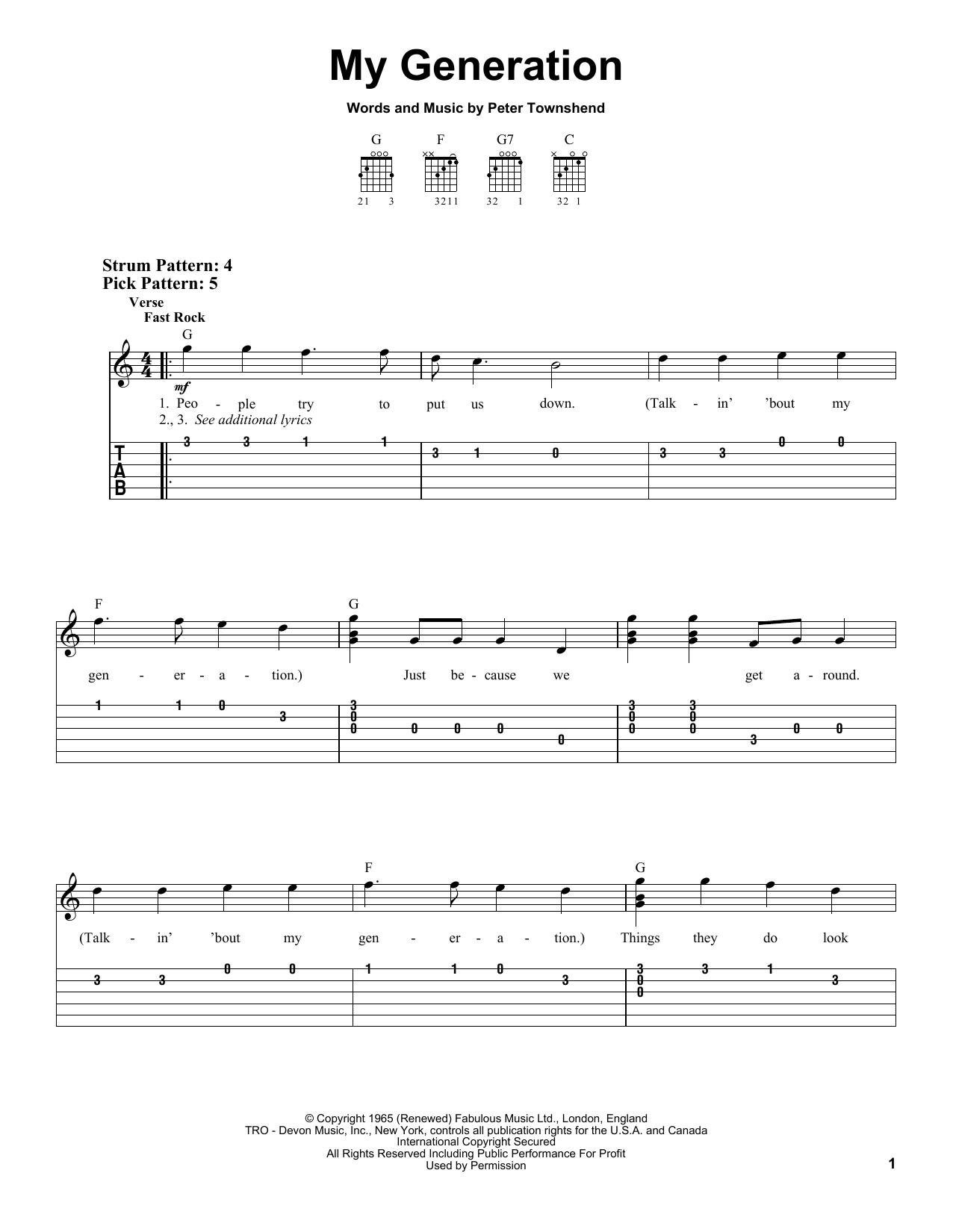 Tablature guitare My Generation de The Who - Tablature guitare facile