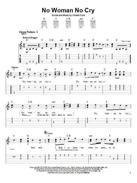 Tablature guitare No Woman No Cry de Bob Marley - Tablature guitare facile