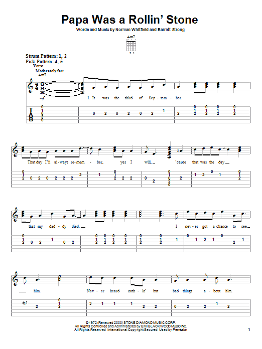 Tablature guitare Papa Was A Rollin' Stone de The Temptations - Tablature guitare facile