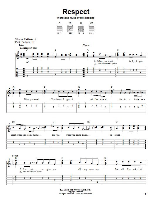Tablature guitare Respect de Aretha Franklin - Tablature guitare facile