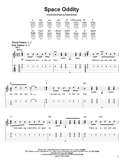 Tablature guitare Space Oddity de David Bowie - Tablature guitare facile