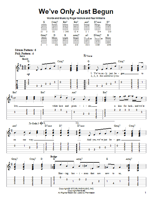 Tablature guitare We've Only Just Begun de Carpenters - Tablature guitare facile
