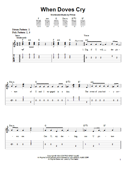 When Doves Cry by Prince - Easy Guitar Tab - Guitar Instructor