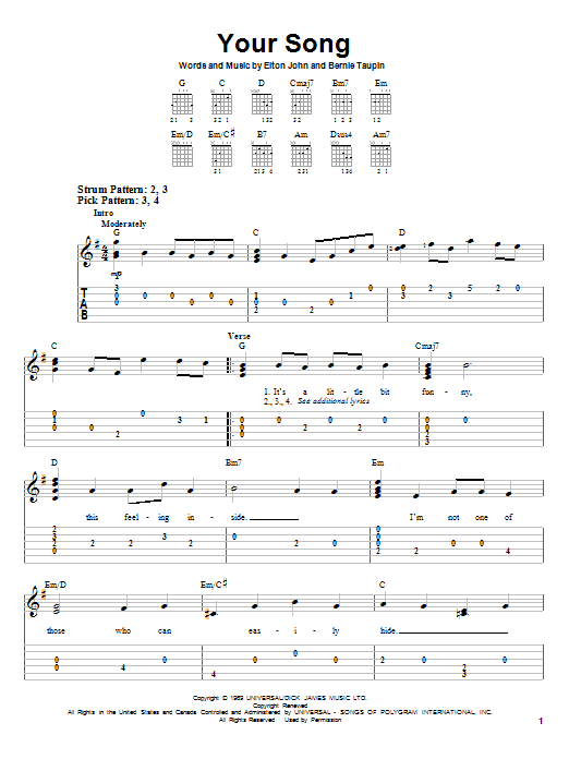 Guitar guitar chords your song : Your Song sheet music by Elton John (Easy Guitar Tab – 28640)