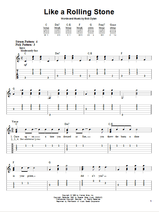 Tablature guitare Like A Rolling Stone de Bob Dylan - Tablature guitare facile