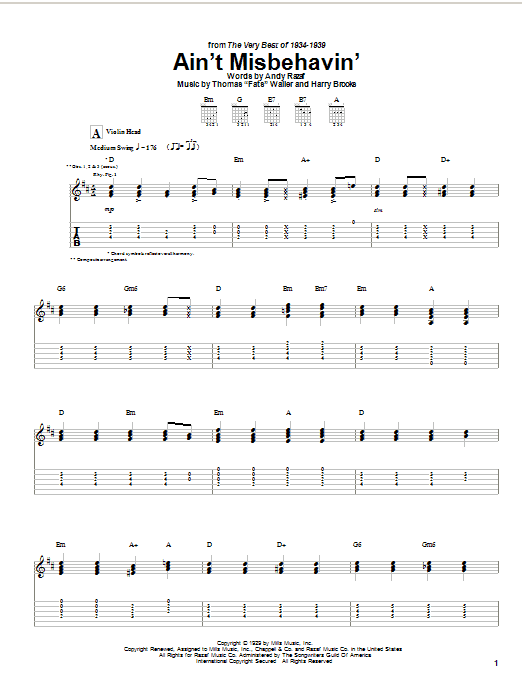 Tablature guitare Ain't Misbehavin' de Hank Williams, Jr. - Tablature Guitare
