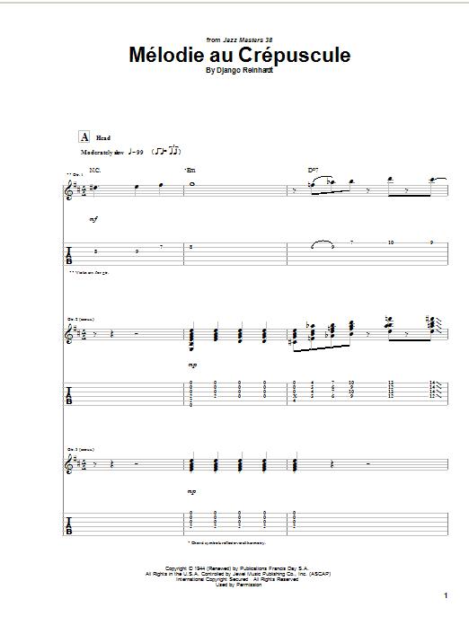 Melodie Au Crepuscule Sheet Music