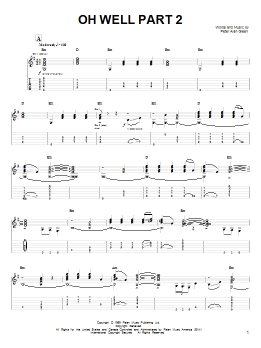 Oh Well Part 2 (Guitar Tab)