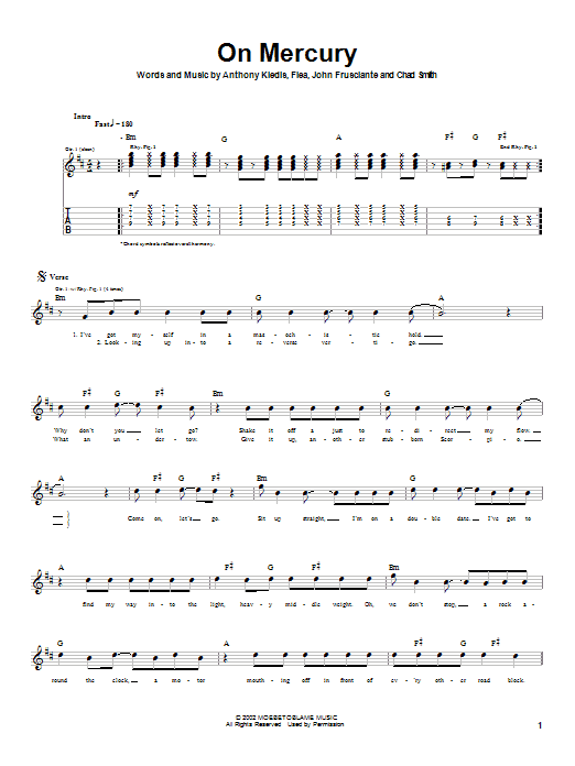 Tablature guitare On Mercury de Red Hot Chili Peppers - Tablature Guitare
