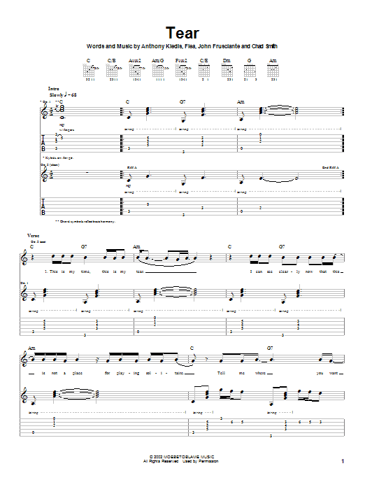Tablature guitare Tear de Red Hot Chili Peppers - Tablature Guitare