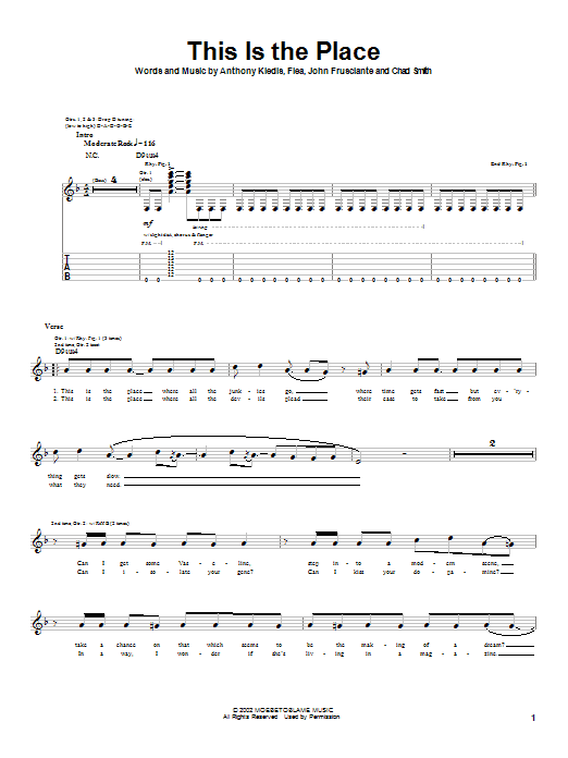 Tablature guitare This Is The Place de Red Hot Chili Peppers - Tablature Guitare