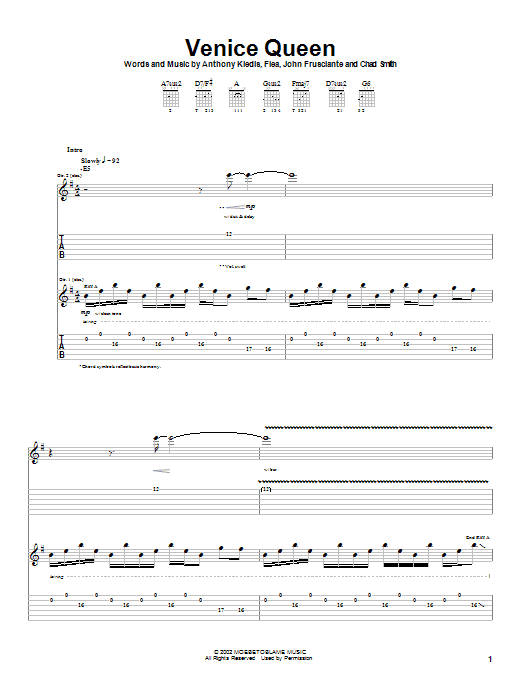 Tablature guitare Venice Queen de Red Hot Chili Peppers - Tablature Guitare