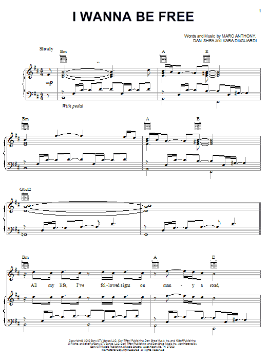 I Wanna Be Free Sheet Music