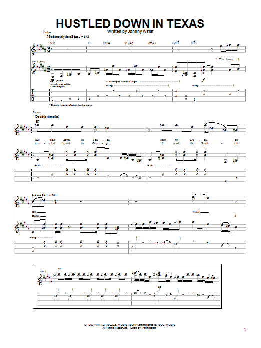 Tablature guitare Hustled Down In Texas de Johnny Winter - Tablature Guitare