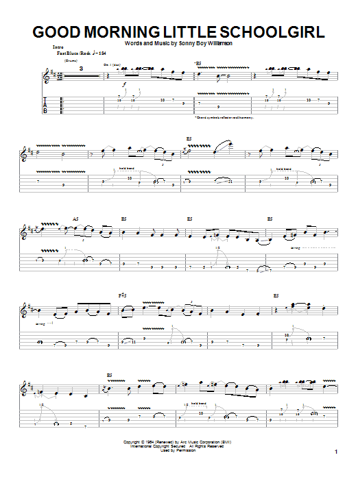 Good Morning Little Schoolgirl (Guitar Tab)