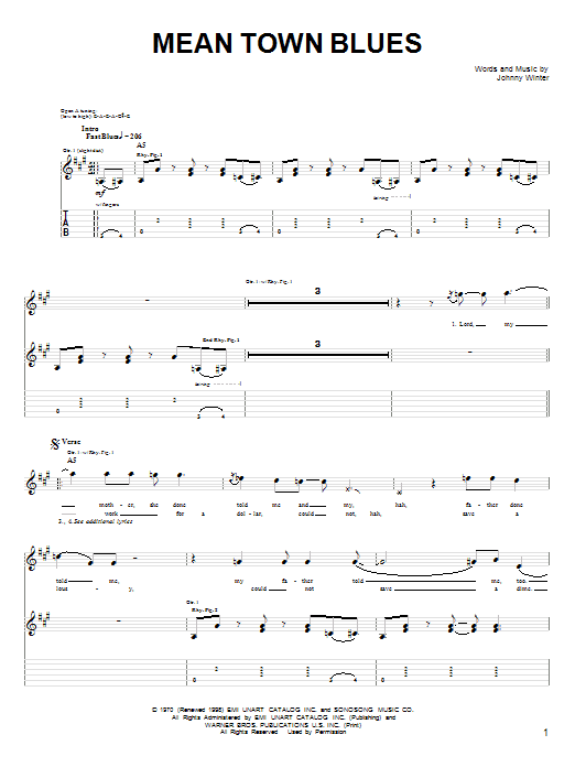 Mean Town Blues Sheet Music