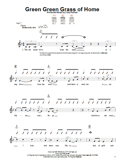 Tablature guitare Green Green Grass Of Home de Tom Jones - Tablature guitare facile