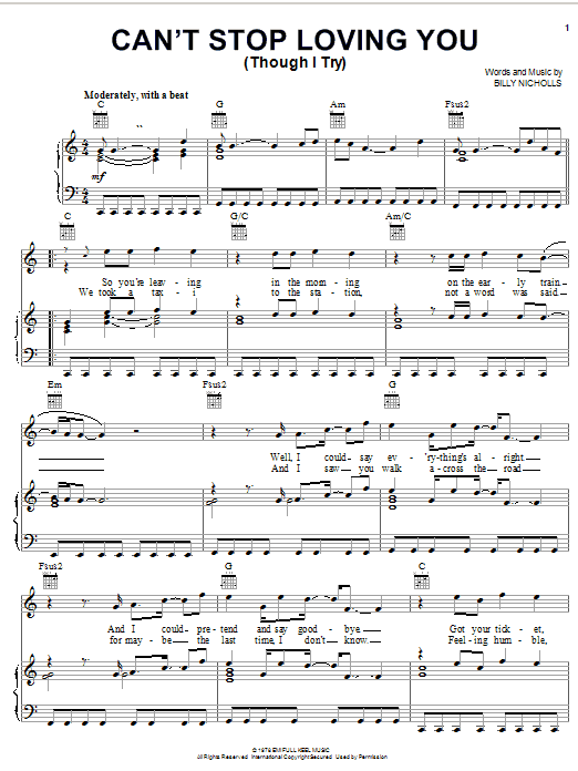 Can't Stop Loving You (Though I Try) Sheet Music