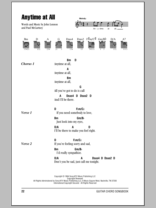 Anytime At All (Guitar Chords/Lyrics)