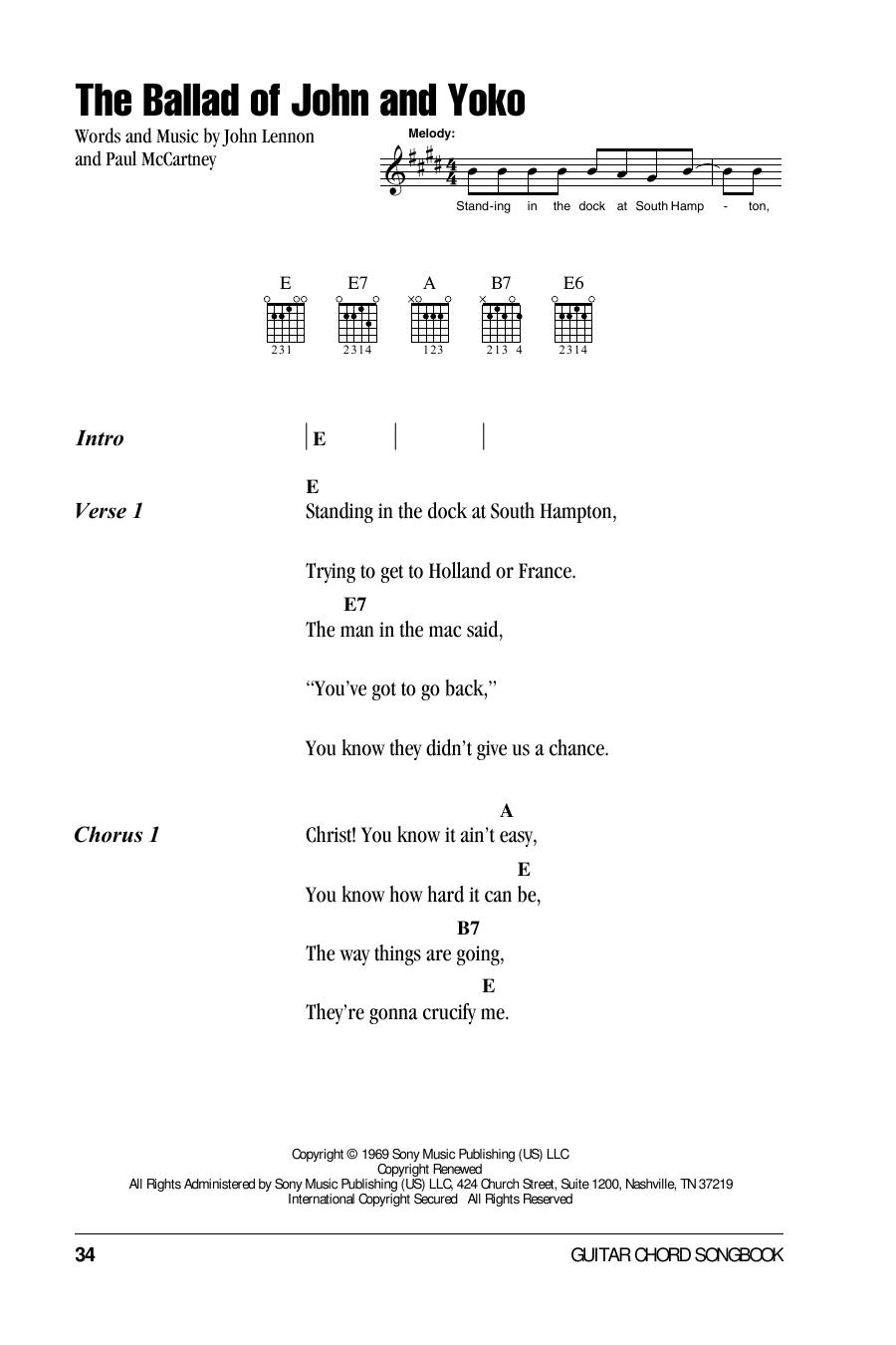 The Ballad Of John And Yoko Sheet Music