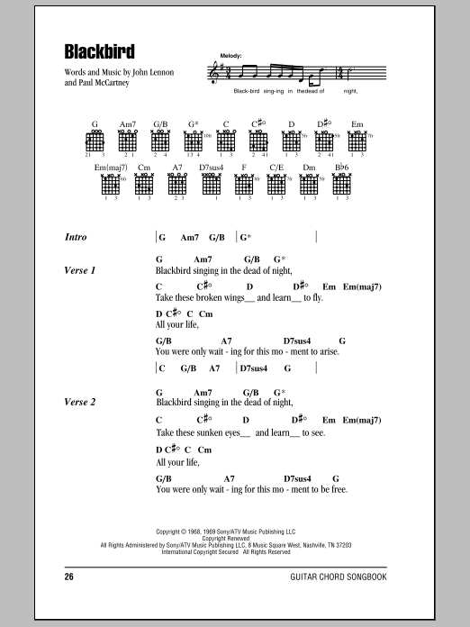 Blackbird by The Beatles - Guitar Chords/Lyrics - Guitar Instructor