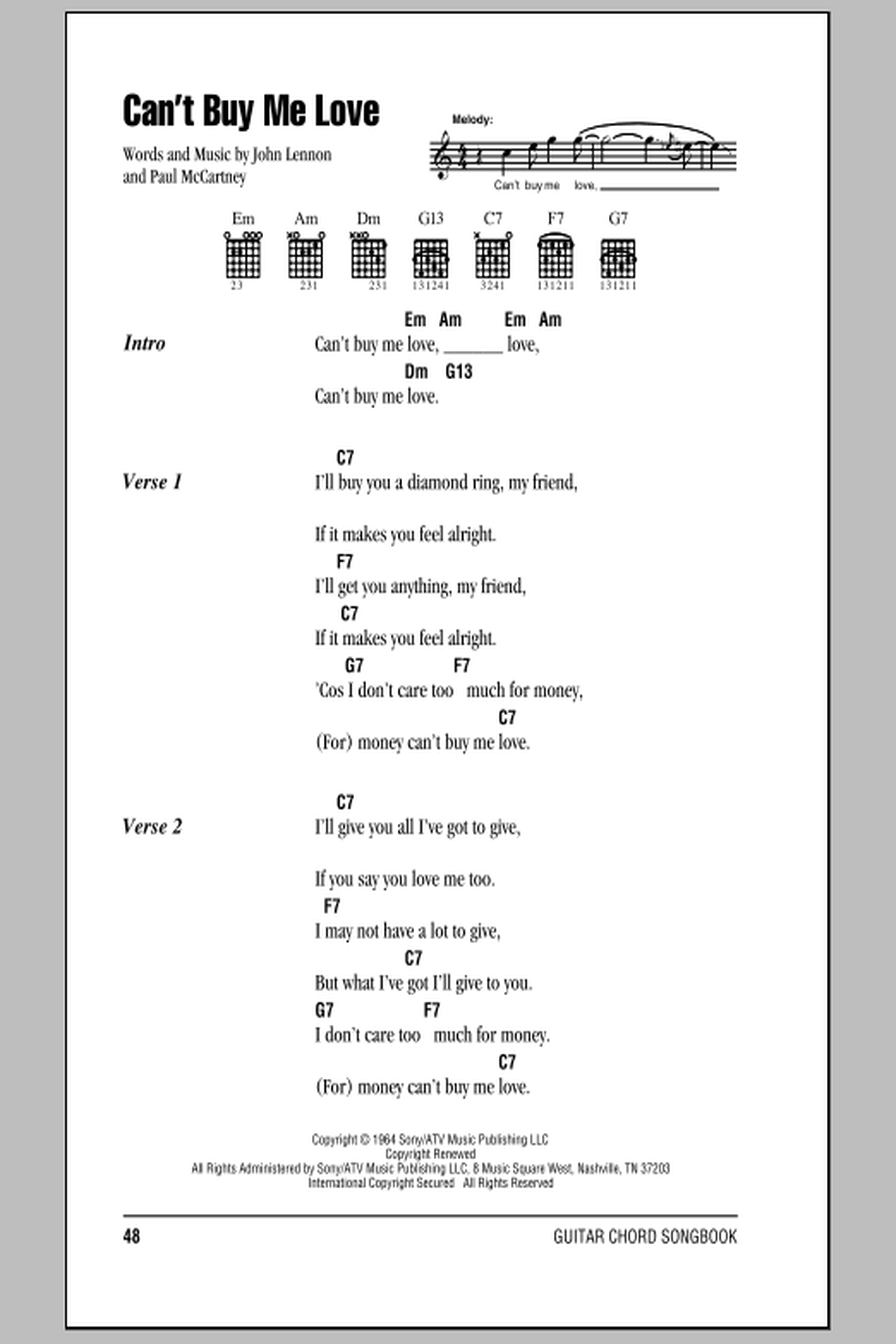 Can\'t Buy Me Love by The Beatles - Guitar Chords/Lyrics - Guitar ...