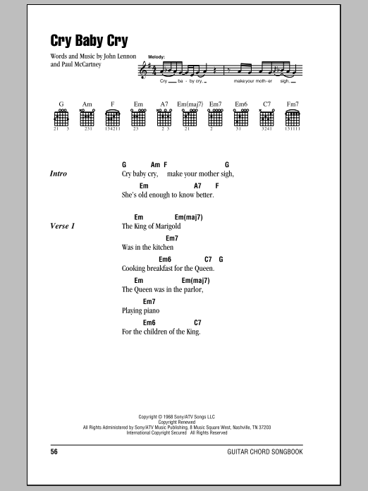 Cry Baby Cry By The Beatles Guitar Chordslyrics Guitar Instructor