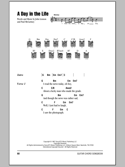 A Day In The Life Sheet Music The Beatles Lyrics Chords