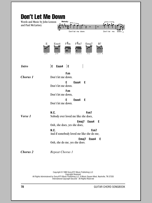 Don\'t Let Me Down | Sheet Music Direct