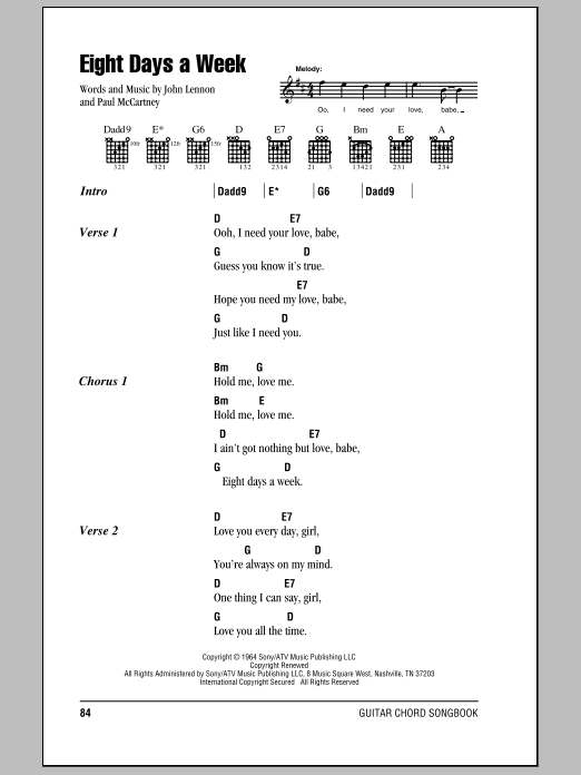 Eight Days A Week Sheet Music