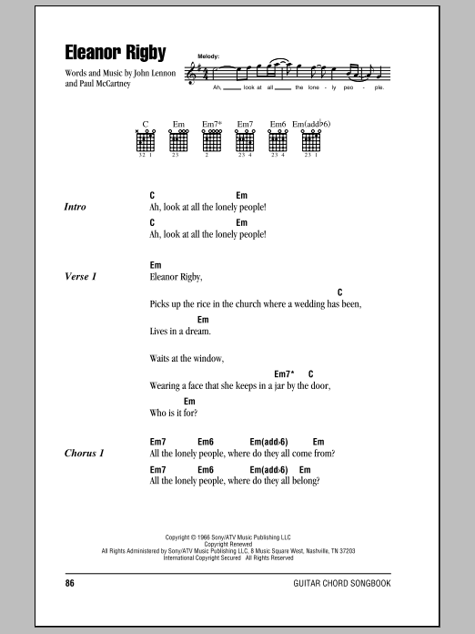 Eleanor Rigby by The Beatles - Guitar Chords/Lyrics - Guitar Instructor