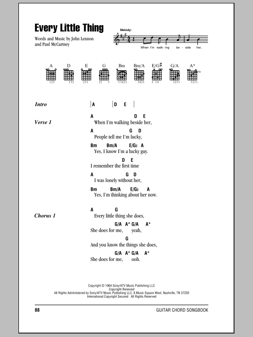 Every Little Thing sheet music by The Beatles (Lyrics & Chords – 78477)