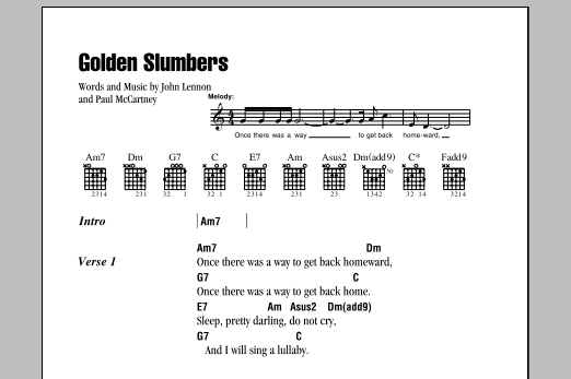 Golden Slumbers Sheet Music The Beatles Lyrics Chords