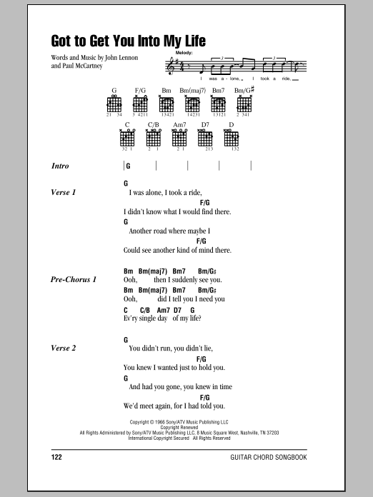 Got To Get You Into My Life by The Beatles - Guitar Chords/Lyrics ...