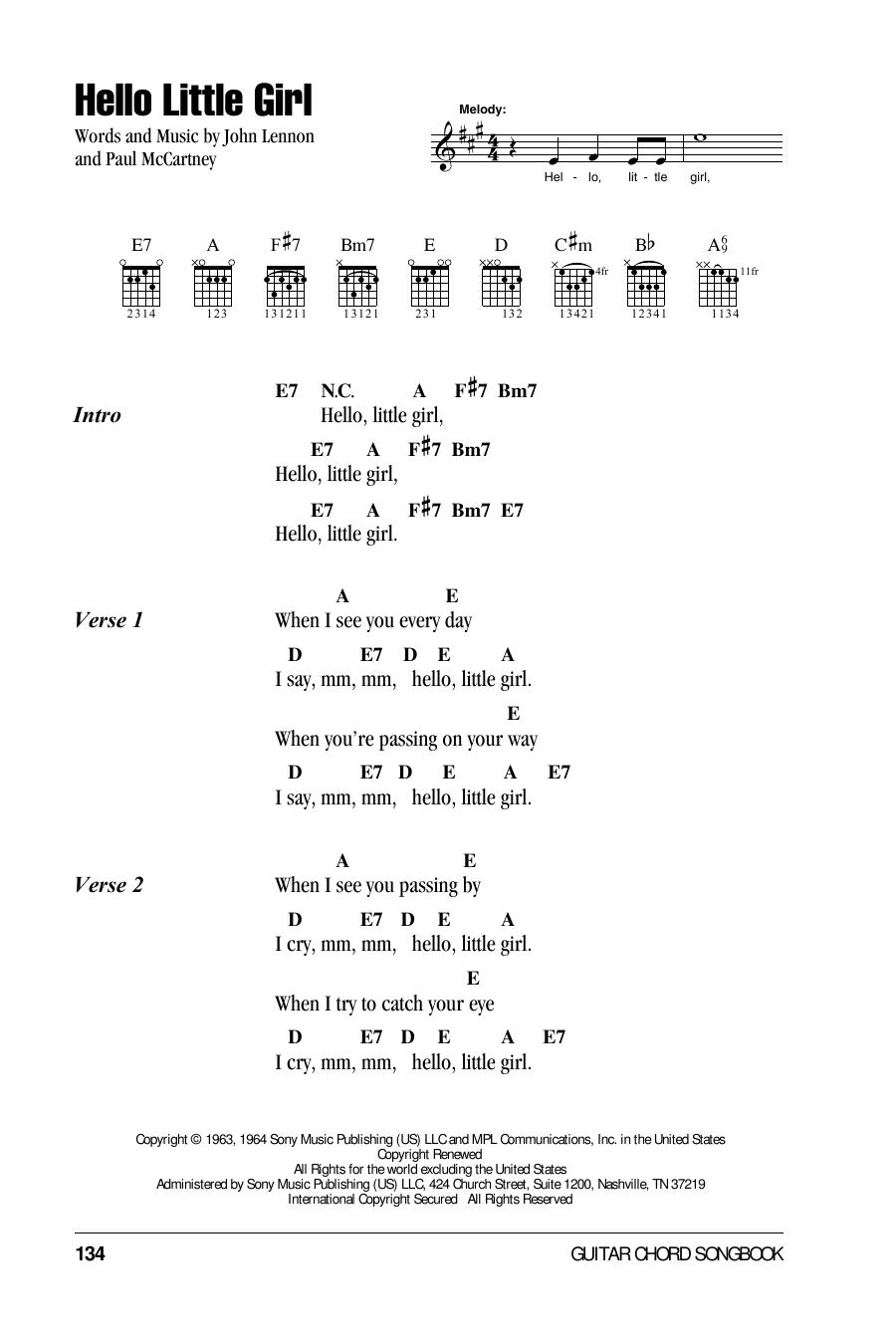 Hello Little Girl Sheet Music By The Beatles Lyrics Chords 78453