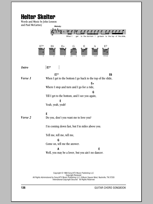 Helter Skelter (Guitar Chords/Lyrics)
