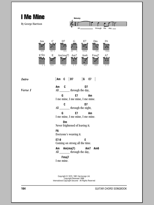 I Me Mine Sheet Music