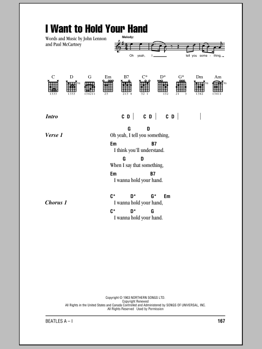 I Want To Hold Your Hand by The Beatles - Guitar Chords/Lyrics ...