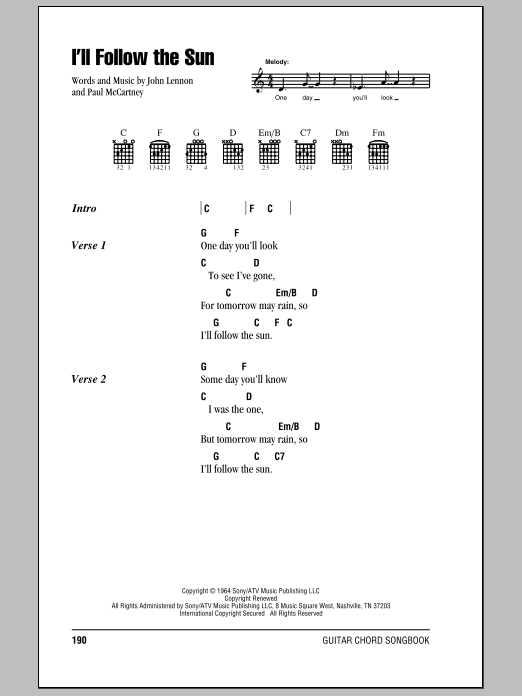 Ill Follow The Sun Sheet Music The Beatles Lyrics Chords