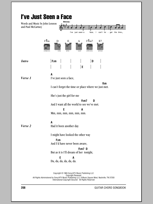 I\'ve Just Seen A Face by The Beatles - Guitar Chords/Lyrics - Guitar ...