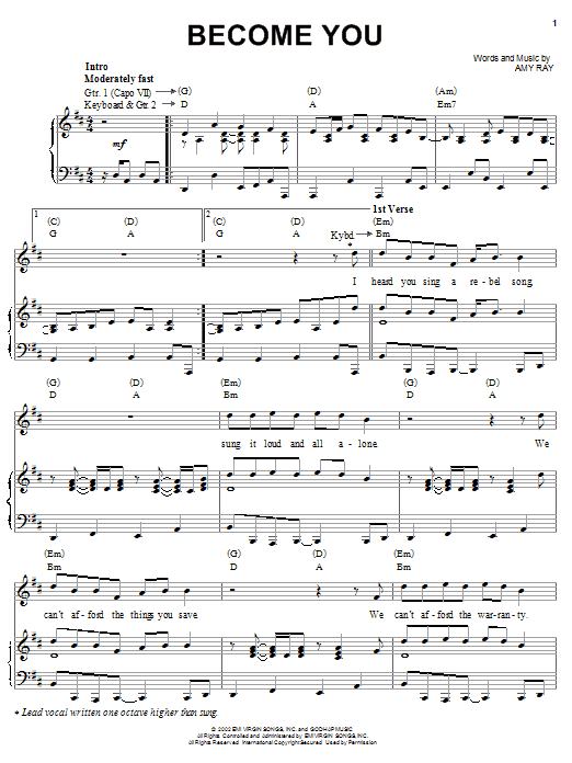 Partition piano Become You de Indigo Girls - Piano Voix Guitare (Mélodie Main Droite)