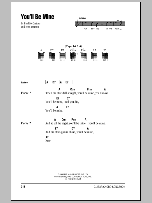 You'll Be Mine Sheet Music