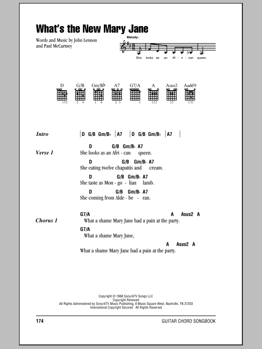 What's The New Mary Jane (Guitar Chords/Lyrics)