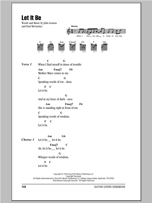 Let It Be Sheet Music The Beatles Lyrics Chords