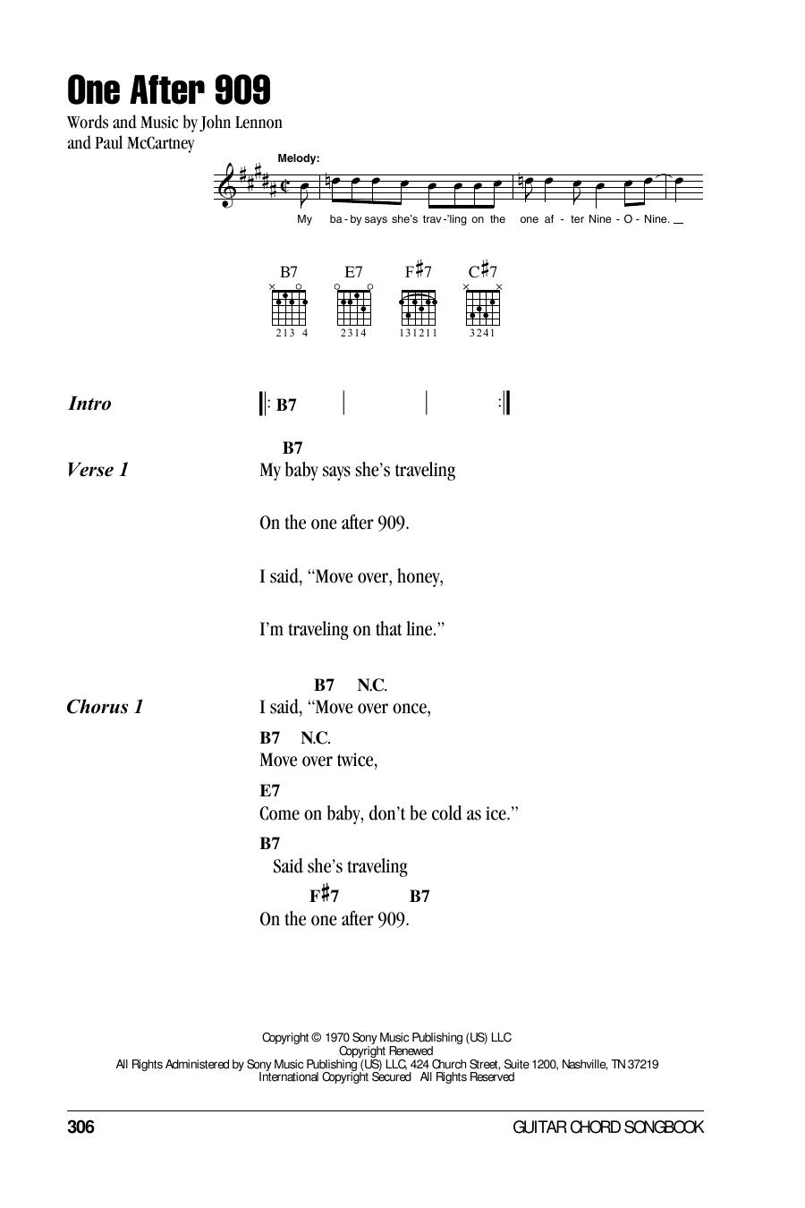 One After 909 (Guitar Chords/Lyrics)