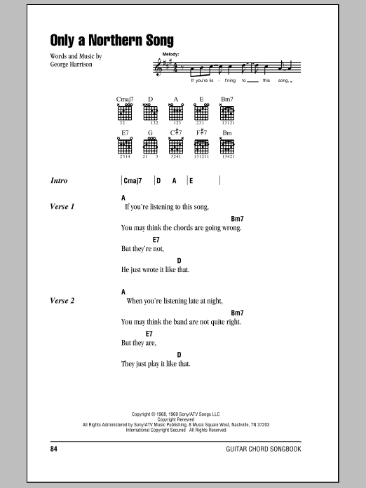 Only A Northern Song Sheet Music